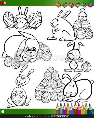 easter cartoons for coloring book stock vector clipart, Happy Easter Themes Collection Set of Black and White Cartoon Illustrations with Bunnies and Eggs for Coloring Book by Igor Zakowski