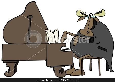 Moose pianist stock photo, This illustration depicts a moose in a topcoat with tails playing a grand piano. by Dennis Cox