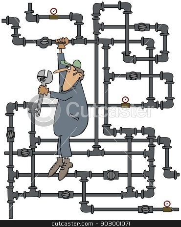 Plumber turning a valve stock photo, This illustration depicts a plumber hanging from a tangle of gas pipes about to turn a valve with a large wrench. by Dennis Cox