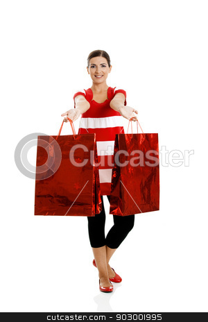 Woman with shopping bags stock photo, Beautiful happy young woman carrying shopping bags, isolated on white background by ikostudio