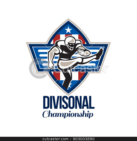 American Football Divisional Championship stock photo, Illustration of an american football gridiron player placekicker kicking facing side done in retro style set inside stars and stripes ball with words Divisional Championship. by patrimonio