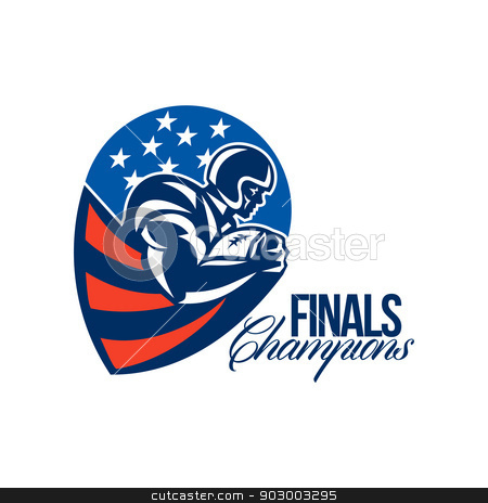 American Football Finals Champions Retro stock photo, Illustration of an american football gridiron rushing running back player running with ball facing side set inside shield shape done in retro style with words Finals Champions. by patrimonio