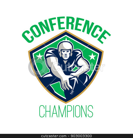 American Football Snap Conference Champions stock photo, Illustration of an american football gridiron player center with hand on ball ready to snap facing front set inside crest shield with stars done in retro style with words Conference Champions. by patrimonio