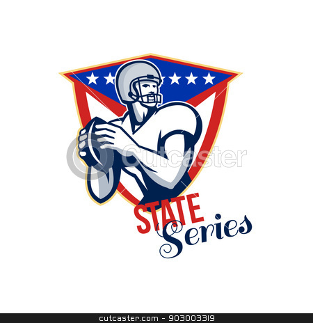 American Football Quarterback State Series stock photo, Illustration of an american football gridiron quarterback player throwing ball facing side set inside crest shield with stars and stripes flag done in retro style with words State Series. by patrimonio