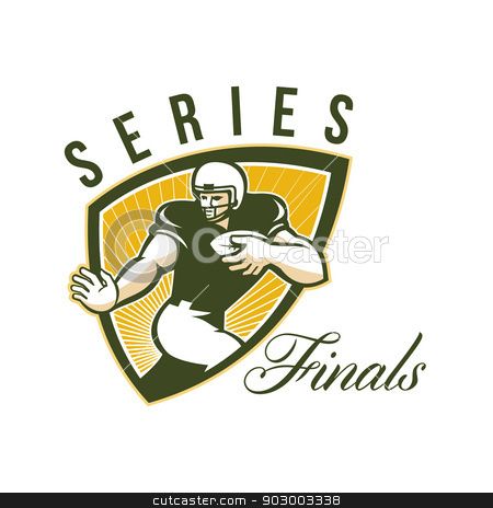 American Football Series Finals Shield stock photo, Illustration of an american football gridiron running back player running with ball facing front done in retro style set inside shield with words Series Finals. by patrimonio