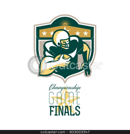 American Football Championship Game Finals QB stock photo, Illustration of an american football gridiron wide receiver running back player running with ball facing side set inside shield with stars done in retro style with words Championship Game Finals. by patrimonio