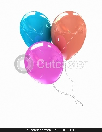 3d colorful balloons  stock photo, 3d colorful balloons on a white background by Guru3D