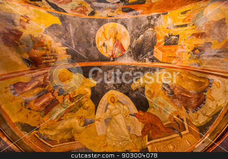 Detail of Ceiling in Chora Church stock photo, Dome at Chora Church in Istanbul with Parecclesion by Scott Griessel