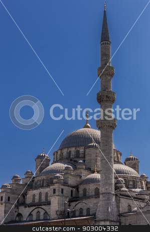 Blue Mosque in Istanbul stock photo, Detail of the Blue Mosque with Minaret by Scott Griessel