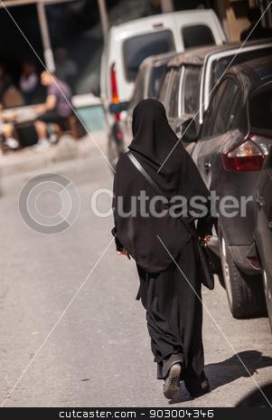 Muslim woman in Istanbul stock photo, Muslim woman in Istanbul neighborhood wearing a hijab by Scott Griessel