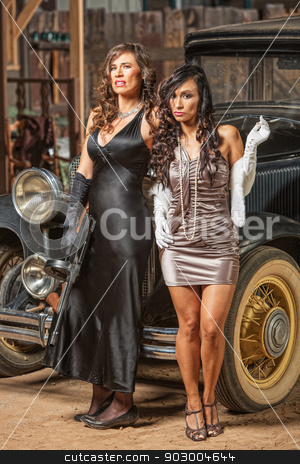 Pretty Retro Gangsters stock photo, 1920s vintage gangster partners waiting outside by car by Scott Griessel