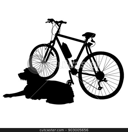 Dog and Bike Silhouette stock vector clipart, A dog is lying dog next to a bike waiting for his owner to return by Maria Bell