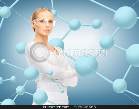 woman in protective glasses and gloves stock photo, healthcare, research, science, chemistry and medical concept - woman in protective glasses and gloves by Syda Productions