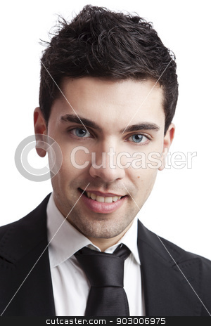 Young Businessman stock photo, Studio portrait of a young businessman isolated over a white background by ikostudio