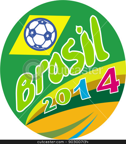 Brasil 2014 Soccer Football Ball Oval stock vector clipart, Illustration of a football soccer ball with Brazil Brazilian flag in background with words Brasil 2014 set inside oval on isolated background. by patrimonio