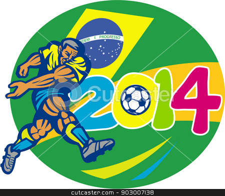 Brazil 2014 Soccer Football Player Retro stock vector clipart, Illustration of a Brazil football player kicking soccer ball with Brazilian flag in background with numbers 2014 done in retro style. by patrimonio
