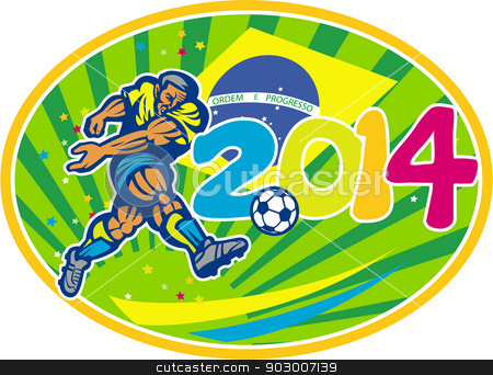 Brazil 2014 Soccer Football Player Kicking Ball stock vector clipart, Illustration of a Brazil football player kicking soccer ball with Brazilian flag in background with numbers 2014 set inside oval done in retro style. by patrimonio
