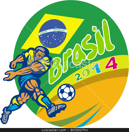 Brasil 2014 Football Player Kicking Retro stock vector clipart, Illustration of a Brazil football player kicking soccer ball with Brazilian flag in background with words Brasil 2014 done in retro style. by patrimonio