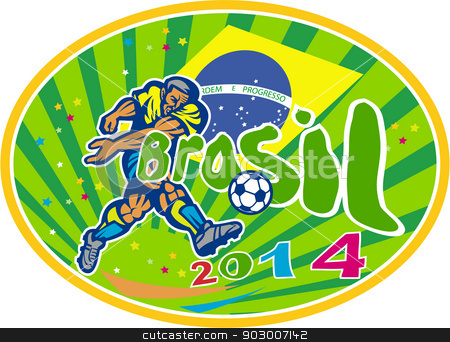 Brasil 2014 Soccer Football Player Oval Retro stock vector clipart, Illustration of a Brazil football player kicking soccer ball with Brazilian flag in background with words Brasil 2014 done in retro style. by patrimonio