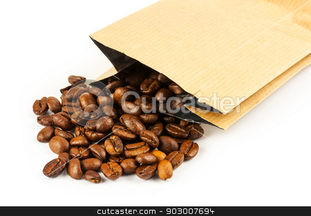 Roasted coffee beans stock photo, Roasted coffee beans pouring from a craft paper bag on white background by Dutourdumonde