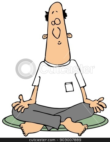 Meditating man stock photo, This illustration depicts a man meditating with palms up and legs crossed. by Dennis Cox