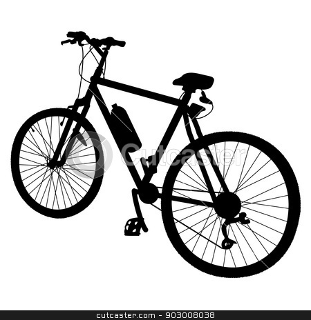 Bicycle Silhouette stock vector clipart, Black silhouette of a bicycle with a water bottle attached to it by Maria Bell