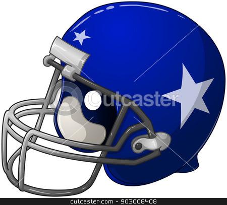 Blue Football Helmet stock vector clipart, A vector illustration of a blue football helmet.  by Liron Peer