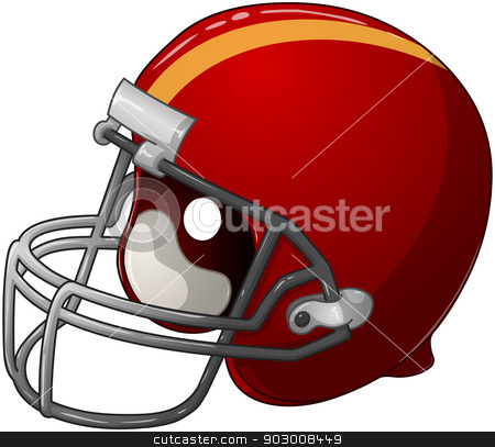 Red Football Helmet stock vector clipart, A vector illustration of a red football helmet.  by Liron Peer