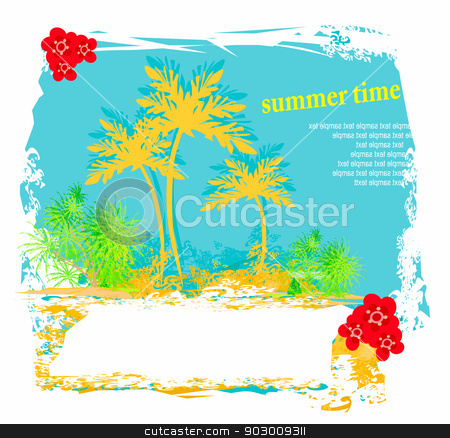 vector summer background with palm trees  stock vector clipart,  vector summer background with palm trees  by Jacky Brown