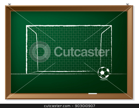 Soccer ball with gate on chalkboard stock vector clipart, Soccer ball with gate drawn on green chalkboard by Mihaly Pal Fazakas