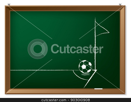 Soccer ball and flag in corner stock vector clipart, Soccer ball and flag in corner drawn on chalkboard by Mihaly Pal Fazakas
