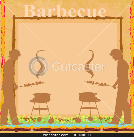 man cooking on his barbecue - Invitation card stock vector clipart, man cooking on his barbecue - Invitation card by Jacky Brown