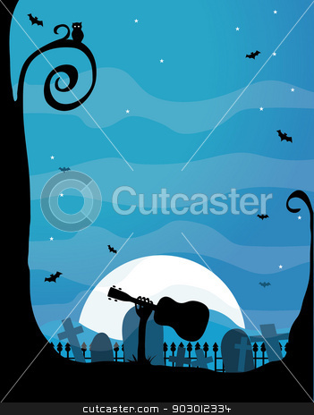 Ukulele Halloween stock vector clipart, A silhouette of a spooky hand holding a ukulele is emerging from a grave in a cemetary - the moon is bright and there is an owl in the tree by Maria Bell