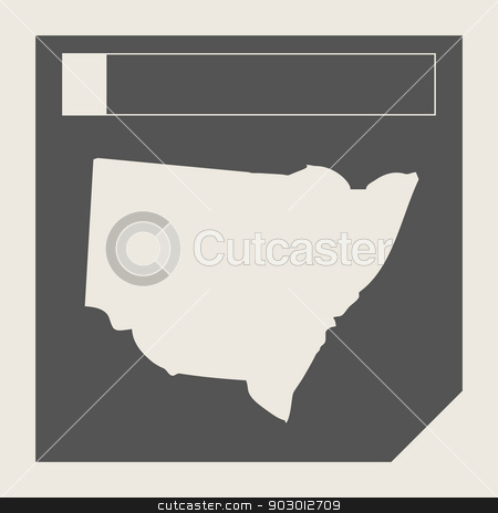Australia New South Wales map button stock photo, Australia New South Wales map button in responsive flat web design isolated with clipping path. by Martin Crowdy