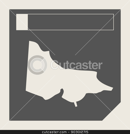 Australia Victoria map button stock photo, Australia Victoria map button in responsive flat web design isolated with clipping path. by Martin Crowdy