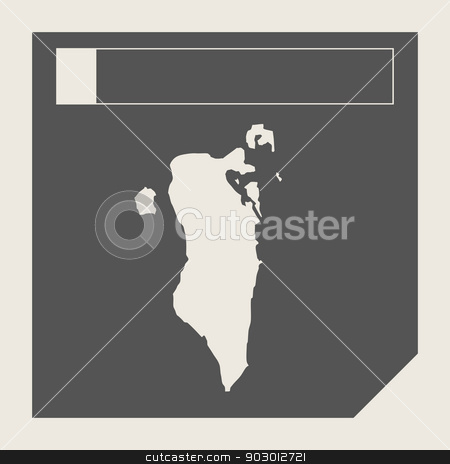 Bahrain map button stock photo, Bahrain map button in responsive flat web design map button isolated with clipping path. by Martin Crowdy