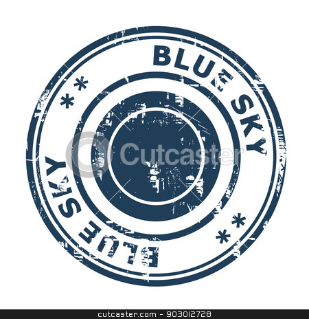 Blue Sky concept stamp stock photo, Blue Sky concept stamp isolated on a white background. by Martin Crowdy