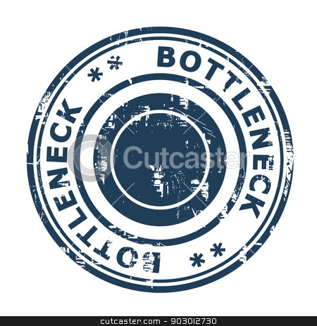 Bottleneck concept stamp stock photo, Bottleneck concept stamp isolated on a white background. by Martin Crowdy