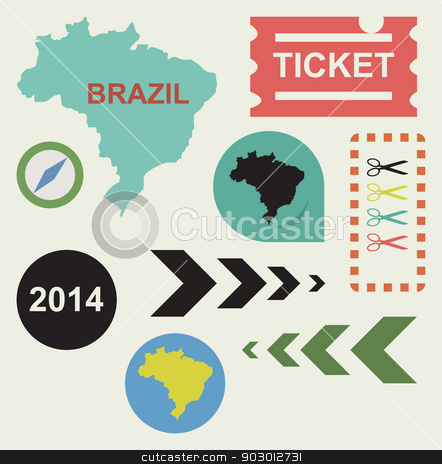 Brazil 2014 stock photo, Brazil 2014 flat web design icons isolated with clipping paths. by Martin Crowdy