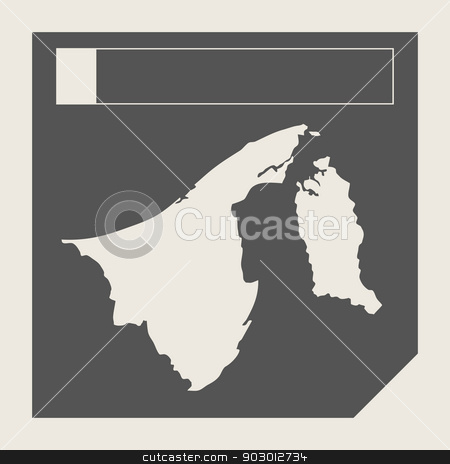 Brunei map button stock photo, Brunei map button in responsive flat web design map button isolated with clipping path. by Martin Crowdy