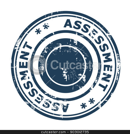 Business assessment concept stamp stock photo, Business assessment concept stamp isolated on a white background. by Martin Crowdy