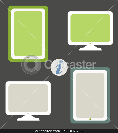 Computer screen and tablet stock photo, Computer screen and tablet icons in responsive web design colors. by Martin Crowdy
