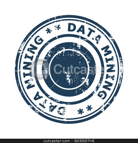 Data mining concept stamp stock photo, Data mining concept stamp isolated on a white background. by Martin Crowdy