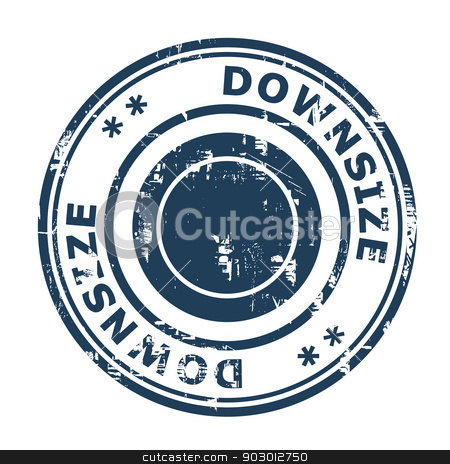 Downsize concept stamp stock photo, Downsize concept stamp isolated on a white background. by Martin Crowdy