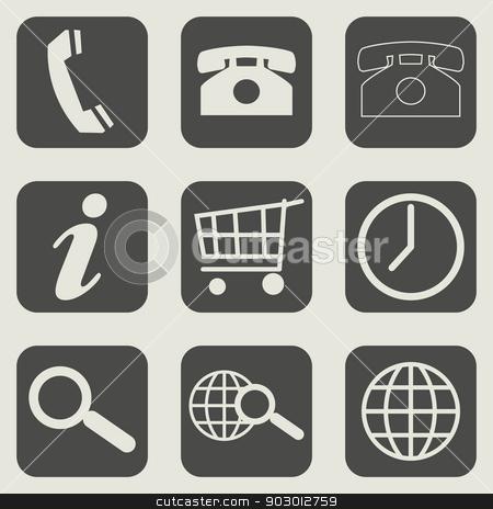 Flat web design business icons stock photo, Set of different flat web design business icons. by Martin Crowdy