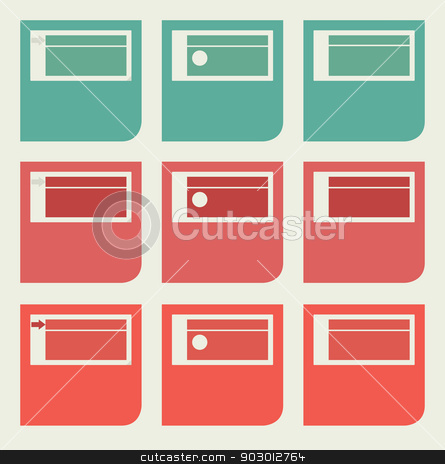 Flat web design icons stock photo, Set of unique flat web design icons with copy space. by Martin Crowdy