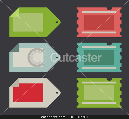Flat web design tickets and labels stock photo, Flat web design tickets and labels, isolated with copy space. by Martin Crowdy