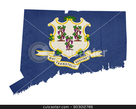 Grunge state of Connecticut flag map stock photo, Grunge state of Connecticut flag map isolated on a white background, U.S.A.  by Martin Crowdy