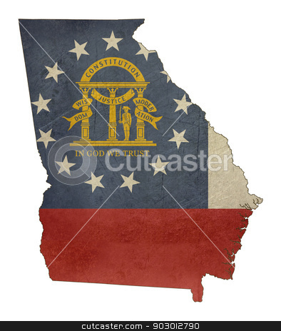 Grunge state of Georgia flag map stock photo, Grunge state of Georgia flag map isolated on a white background, U.S.A. by Martin Crowdy