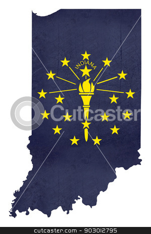 Grunge state of Indiana flag map stock photo, Grunge state of Indiana flag map isolated on a white background, U.S.A. by Martin Crowdy